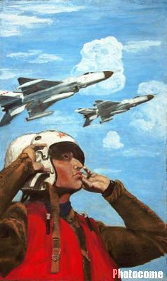 作品中的飞行员是王伟的自画像.-海空卫士 王伟油画遗作 魂系海空