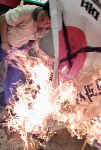 图文:日本拒不修改教科书 韩国民众怒烧日国旗