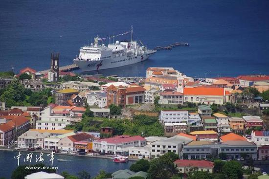 ▲远眺格林纳达首都圣乔治港。