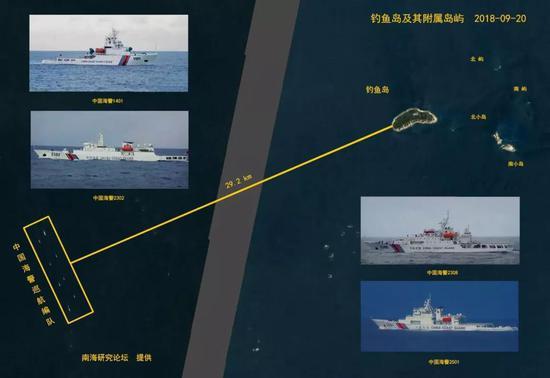 ▲在钓鱼岛附近海域巡逻的中国海警船编队