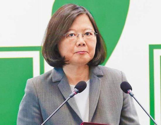 """民进党主席、台湾地区领导人蔡英文。(图片来源:台湾""""中时电子报"""")"""