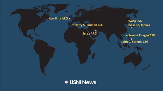 美国海军学院新闻网19日公布了美国海军大型军舰的部署情况