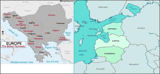 巴尔干半岛(左)与波罗的海(右)位置 来源:推特