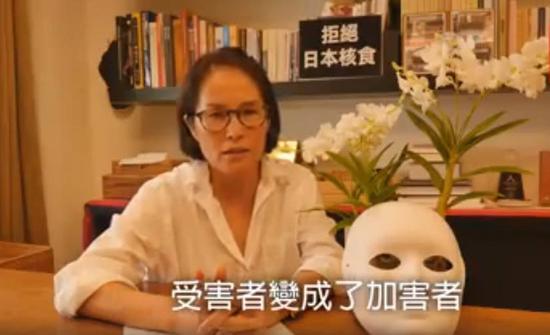 高金素梅认为蔡英文落款的碑文让受害者变成了加害者(Facebook视频截图)