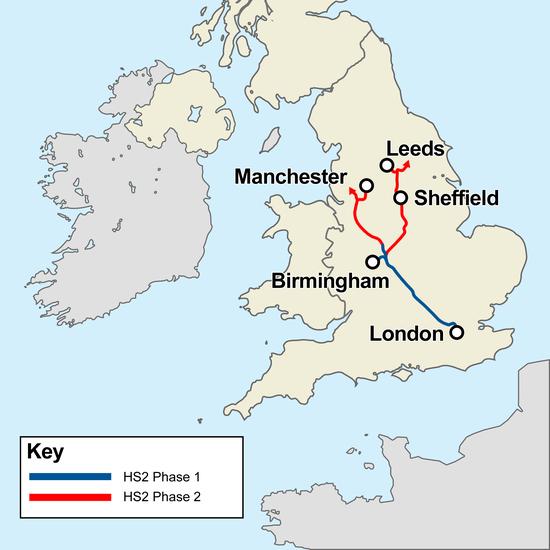 HS2线路规划图,蓝线为1期,红线为2期