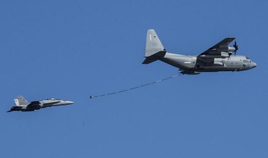 资料图:F/A-18D大黄蜂战机和KC-130J空中加油机模拟空中加油